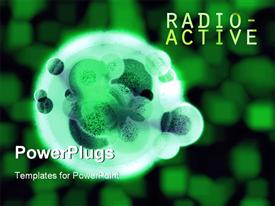 PowerPoint template displaying green glowing radioactive hulk organic cell with green blurred cubes