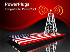 PowerPoint template displaying radio tower along with American flag in the bottom