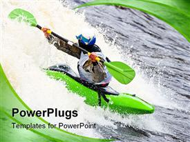 PowerPoint template displaying kayak freestyle on whitewater Russia in the background.
