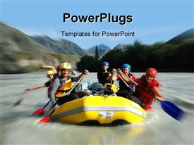 PowerPoint template displaying people enjoying rafting in the river with mountains