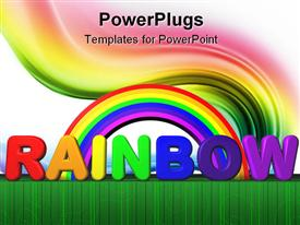 PowerPoint template displaying rainbow with text lettering, colored swirl, green line border, white background