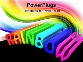 PowerPoint template displaying the word rainbow being written in a colorful way
