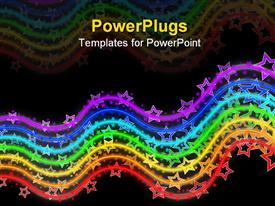 PowerPoint template displaying neon colored rainbow made of waving lines with stars on them on black background