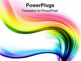 PowerPoint template displaying spectrum waves of different colors on the white background