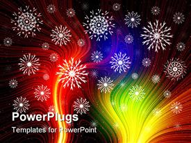 PowerPoint template displaying white snowflakes on multicolored fiber optic background