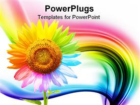 PowerPoint template displaying a beautiful depiction of a multicolored sunflower with rainbow in the background