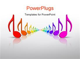 PowerPoint template displaying beautiful colorful 3D rainbow music notes in many colors in the background.