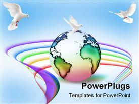 PowerPoint template displaying depiction of planet with peace surrounded by birds and rainbow