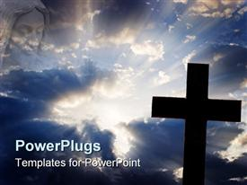 Silhouette of a cross against a beautiful cloud filled sky with rays of sunlight shining out powerpoint template