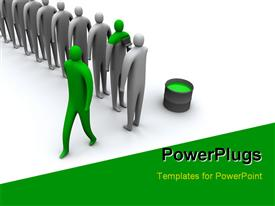 PowerPoint template displaying 3D human characters being painted in green with white color