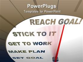 PowerPoint template displaying white speedometer with a red pointer pointing at reach goal text