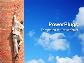 PowerPoint template displaying man in white suit climbing up a brick building on bright blue sky background