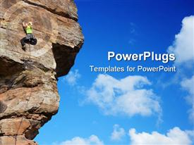 PowerPoint template displaying young smiling woman climbing a sandstone rock