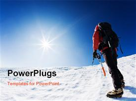 PowerPoint template displaying mountaineer reaching the top of a snowcapped mountain peak