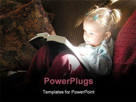 PowerPoint template displaying little girl reading Bible with sunlight reflecting off book back onto her face with sofa