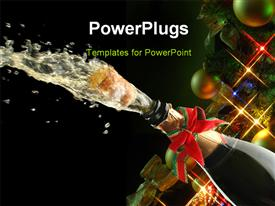 PowerPoint template displaying champagne splash, bottle and cork with Christmas decoration with christmas balls and lights