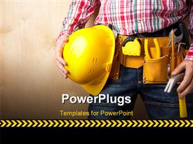 PowerPoint template displaying a construction engineer yellow with helmet and tools and textured wall