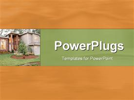 PowerPoint template displaying depiction of  a plain sandy background with a building