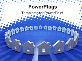 Abstract 3D image of house metaphor in circle powerpoint template