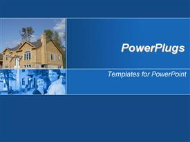 PowerPoint template displaying brown modern house and smiling couple in blue background