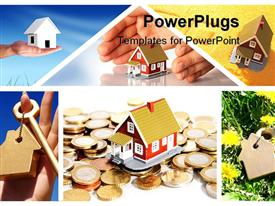 PowerPoint template displaying real estate collage with houses, keys, hand, coins, first home