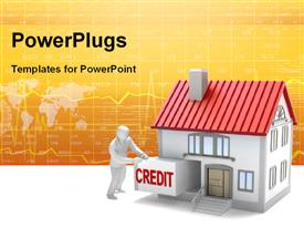 PowerPoint template displaying human character with credit for house and financial depiction