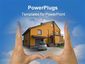 PowerPoint template displaying estate real house sales home new success in the background.
