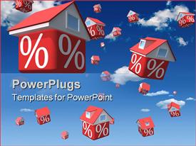 PowerPoint template displaying falling houses with percent symbol on sky background