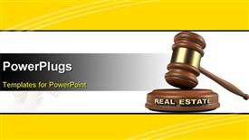 Gavel and REAL ESTATE word writing on sound block template for powerpoint