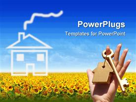 PowerPoint template displaying a key in a keychain with sunflowers in the background