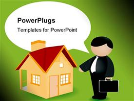 PowerPoint template displaying real estate agent with brief case beside home, mortages