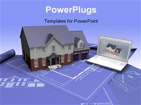 PowerPoint template displaying real estate concept with Blueprint and house model and laptop, blue color
