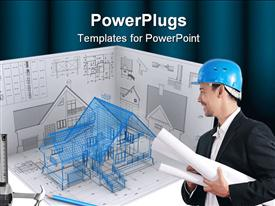 PowerPoint template displaying architectural designs with architect carrying residential building plan