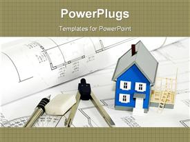 PowerPoint template displaying blue house model next to rubber, pen and compass on blueprints