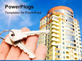 Real estate concept. keys in fingers with building powerpoint template