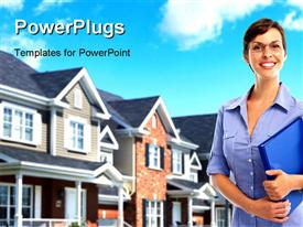 PowerPoint template displaying smiling young real estate agent with a house