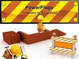 PowerPoint template displaying construction worker building wall, hard hat, sledge hammer, gloves, tools
