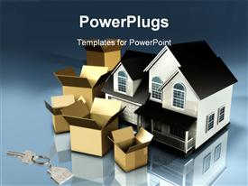 PowerPoint template displaying planning to move houses moving boxes new keys mortgage financial plans stress