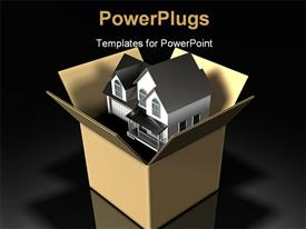 Two-story house sitting inside of a large cardboard box on a dark background template for powerpoint