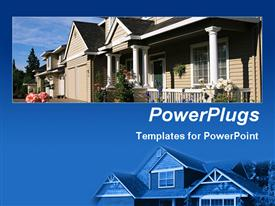 PowerPoint template displaying close up of new home on blue background