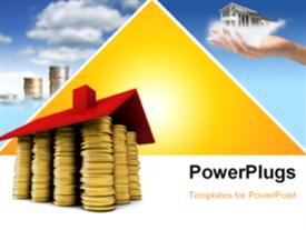 House of gold coins wide-angle shot powerpoint design layout