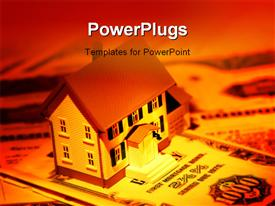 PowerPoint template displaying miniature house and mortgage bonds with creative lighting