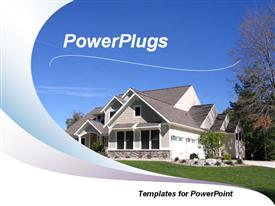 PowerPoint template displaying view of a newly completed house on top of the hill with wave design