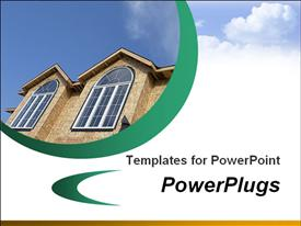 PowerPoint template displaying template with a house top showing two windows and sky with clouds in the background.