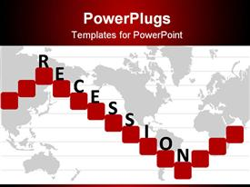 PowerPoint template displaying economic recession depiction with graph and world map in the background.