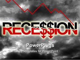 PowerPoint template displaying depiction relating to the economy and economic recession in the background.