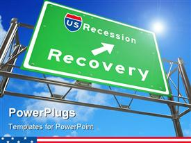 PowerPoint template displaying green freeway sign against white background with the words US Recession - Recovery in the background.