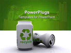PowerPoint template displaying two white 3D aluminum cans with green recycle sign and word on white mirroring table and green background