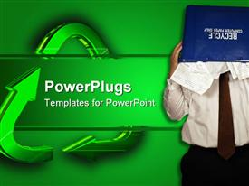 PowerPoint template displaying a man with a recycle bin covering his face beside green arrows