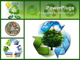 PowerPoint template displaying clean environment - conceptual recycling symbol and green tree in the background.